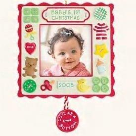2008 Hallmark BABY'S FIRST CHRISTMAS Photo Holder Ornament~Cute as a Button