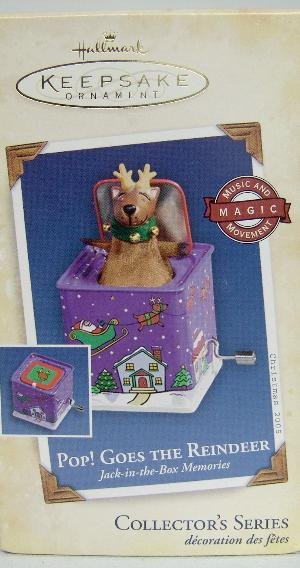 Hallmark 2005 POP! GOES THE REINDEER Jack-In-The-Box~Christmas Ornament