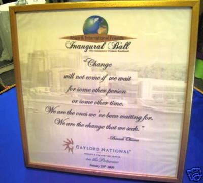 2009 BARACK OBAMA Inaugural AFRICA & INTERNATIONAL FRIENDS Ball Memorabilia ~ FRAMED PRINTED NAPKIN