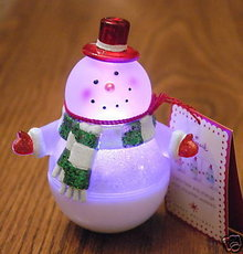 2008 Wobbles Snowman Snow Globe~Color Changing Roly-Poly Wobbling Snowglobe
