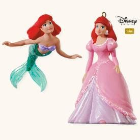 2008 Hallmark Little Mermaid ARIEL'S DREAM~Disney Christmas Ornament~Set of 2