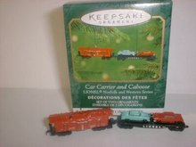 2001 Hallmark LIONEL Car Carrier & Caboose~Norfolk and Western~2 Die-cast Trains Ornaments