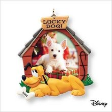 2007 Hallmark LUCKY DOG Christmas Ornament~Photo Holder or Magnet~Disney's PLUTO