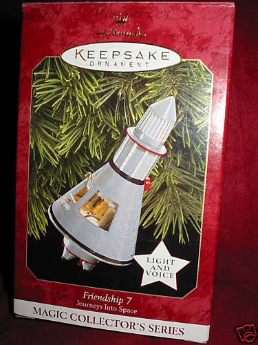 1997 Hallmark Friendship 7~Journeys Into Space~Christmas Ornament~Light & John Glenn Voice~NASA