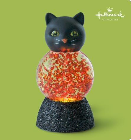 Hallmark Halloween Glitter KITTY Cat Water Globe~Changes Colors