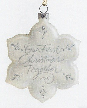 2007 Hallmark OUR FIRST CHRISTMAS Together ~Glass Snowflake Ornament~
