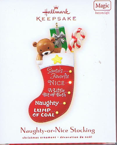 2007 Hallmark NAUGHTY-OR-NICE ~Magic Christmas Ornament~ Lights