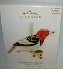 2009 Hallmark RED-HEADED WOODPECKER~Beauty of Birds Christmas Ornament