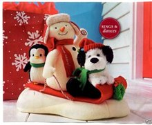 SNOW WHAT FUN SLEDDERS~Animated Plush~Christmas Display~Hallmark 2007~Sound & Movement