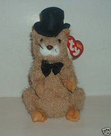 TY Beanie Baby Punxsutawn-e Phil 2004~Internet Exclusive~Groundhog Day Punxsutawney