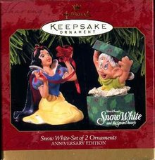 New SNOW WHITE and DOPEY 2 Disney Christmas Ornaments Hallmark 1997
