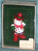 Hallmark COWBOY SNOWMAN Western Christmas Ornament 1982