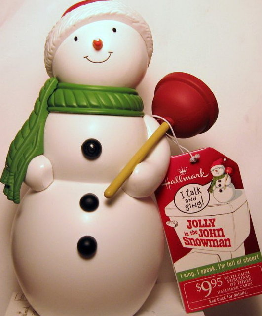 Hallmark 2010 JOLLY IN THE JOHN Talking Snowman Plumber Motion Activated
