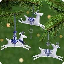 Hallmark 2001 GRACEFUL REINDEER set of 3 PORCELAIN Ornaments