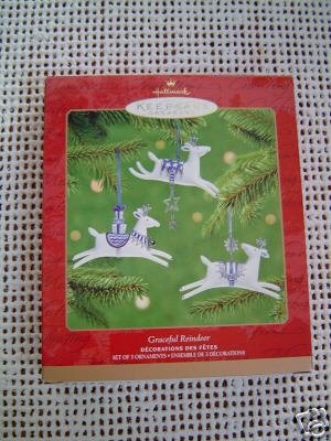 Hallmark 2001 GRACEFUL REINDEER set of 3 PORCELAIN Ornaments