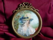 Miniature Antique Painting on Ivory of a  lady in a Garden