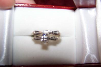 Diamond and 14 Kt. White Gold Wedding Ring Set