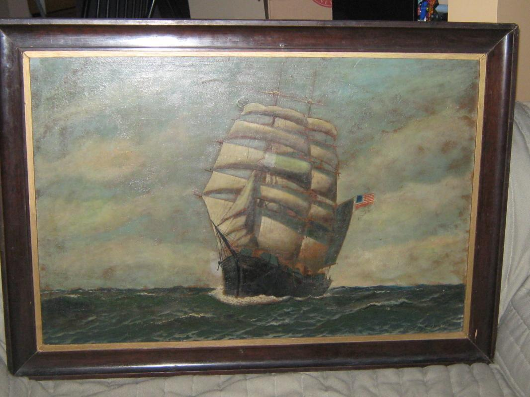 Antonio Jacobsen Original Signed Oil on Board
