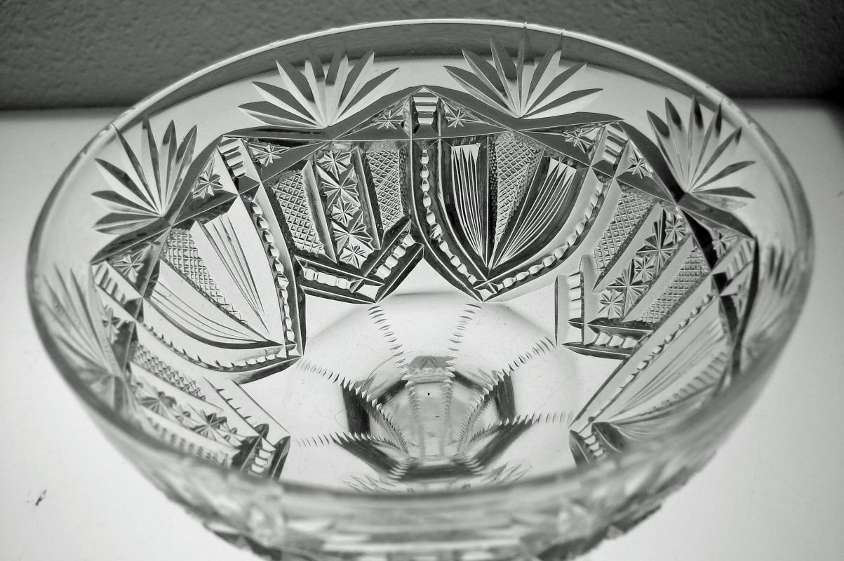 American Brilliant Period Cut Glass Crystal Saucer Style Champagne