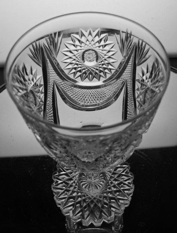American Brilliant Period Cut Glass Crystal Goblet in a Drape Style Pattern