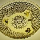 Gold Colored American Brilliant Period Cut Glass Crystal 3 Legged Ferner Bowl