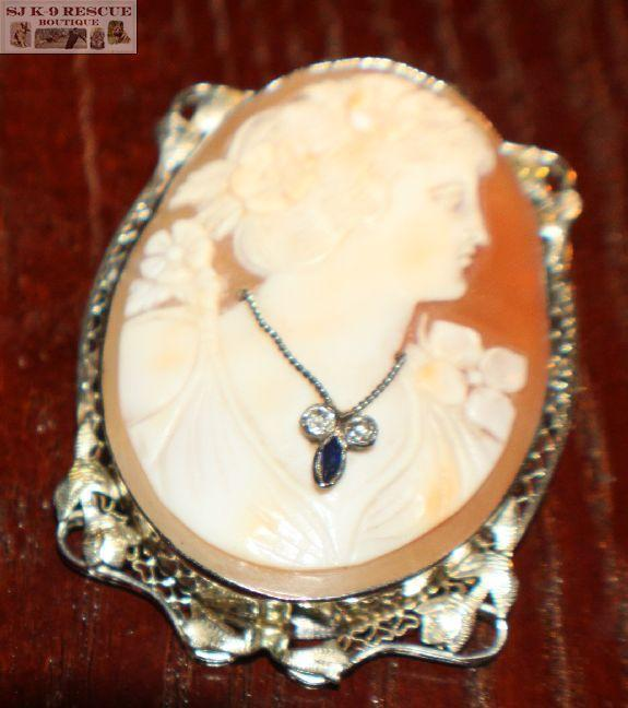 RARE VICTORIAN LARGE SHELL CAMEO in 18K WHITE GOLD INTRICATE FRAME