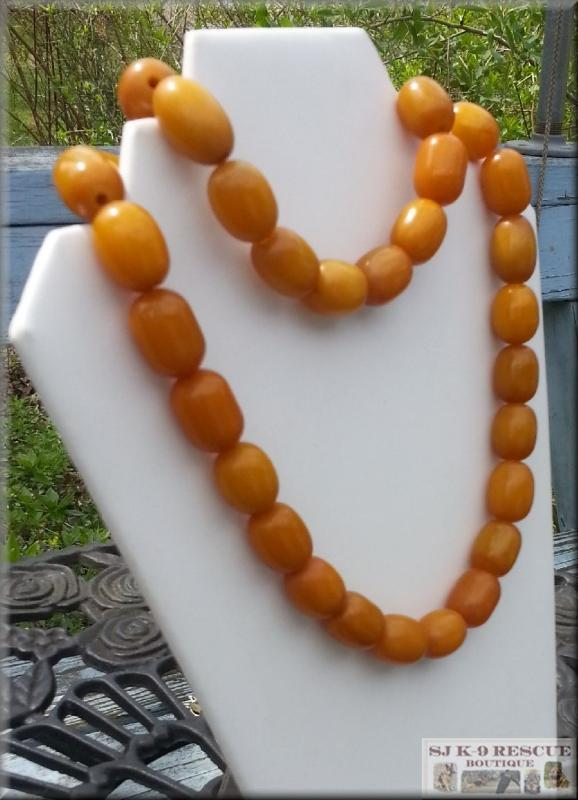 RARE, Large, Egg Yolk Yellow AMBER BAKELITE BEADed Necklace,32