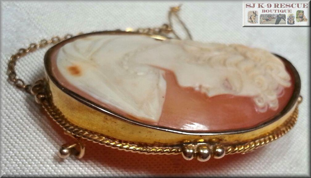 RARE VICTORIAN LARGE SHELL CAMEO, 18K YELLOW GOLD, INTRICATE SAFETY PIN