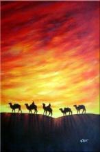 Camel Caravan in Sunset