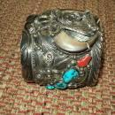 Heavy Navajo Bear Silver Cuff Bracelet by M. Thomas Jr.