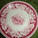Currier Ives Red Saucer