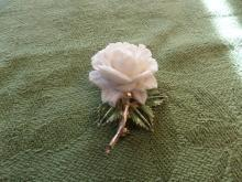 White rose brooch