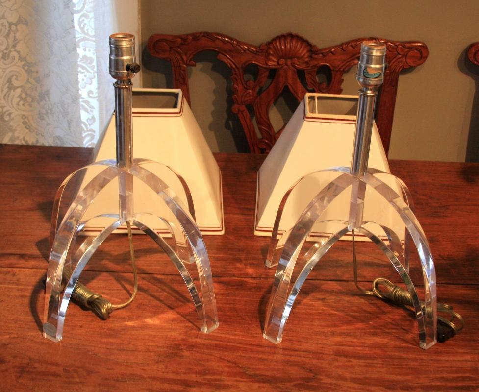 ASTROLITE, Ritts Co. LA; BEST Pair of 1960's LUCITE LAMPS, Mid Century Modern design