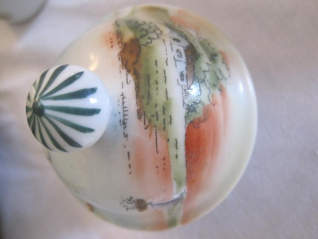 NIPPON CHOCOLATE POT WITH LAKE SCENE-HANDPAINTED MARKED MADE IN NIPPON