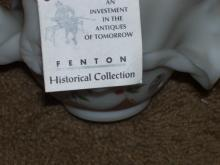 Fenton basket w/ handle , signed