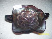 Fenton  double handle footed  dish