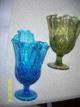 2 footed glass vases