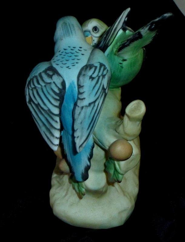 Bisque Statue Of Two Parakeets