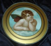 Antique Lithographed Cherub Flue Cover