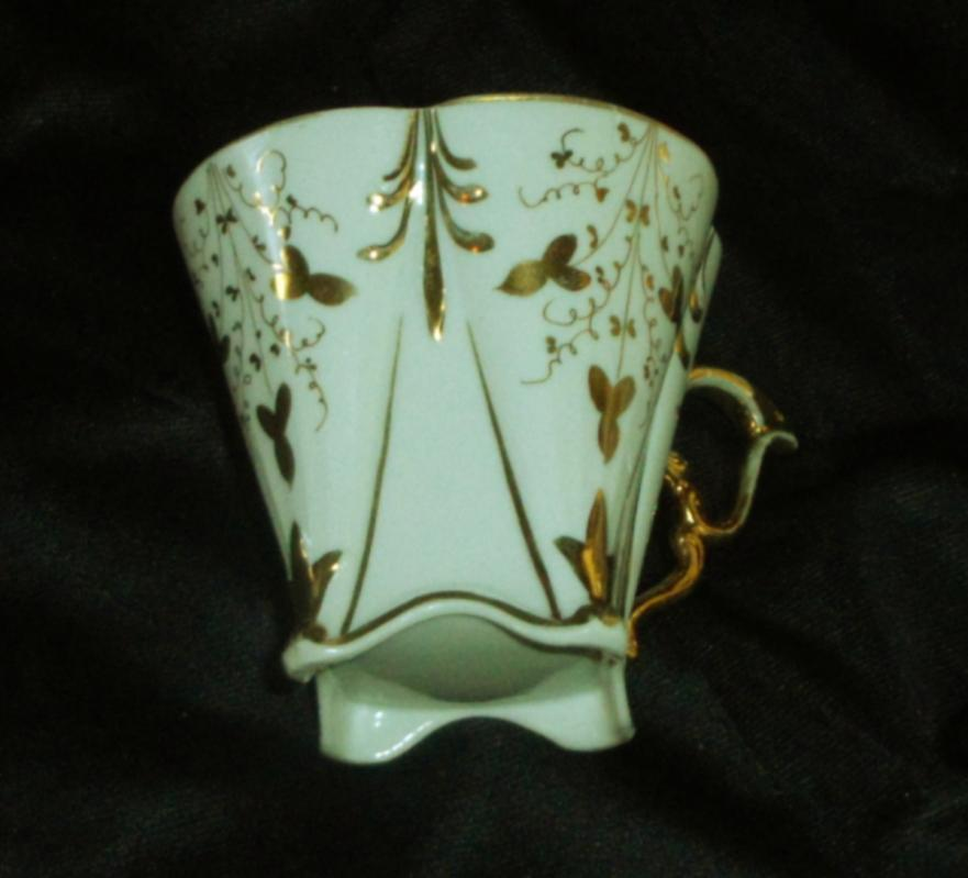 Bone China Mustache Cup, Gold Embelished, Signed Cup & Saucer