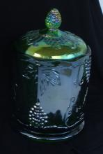 CARNIVAL GLASS JAR AND LID