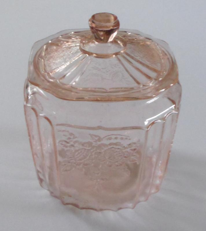 Mayfair Pink Depression Glass Cookie Jar and Lid