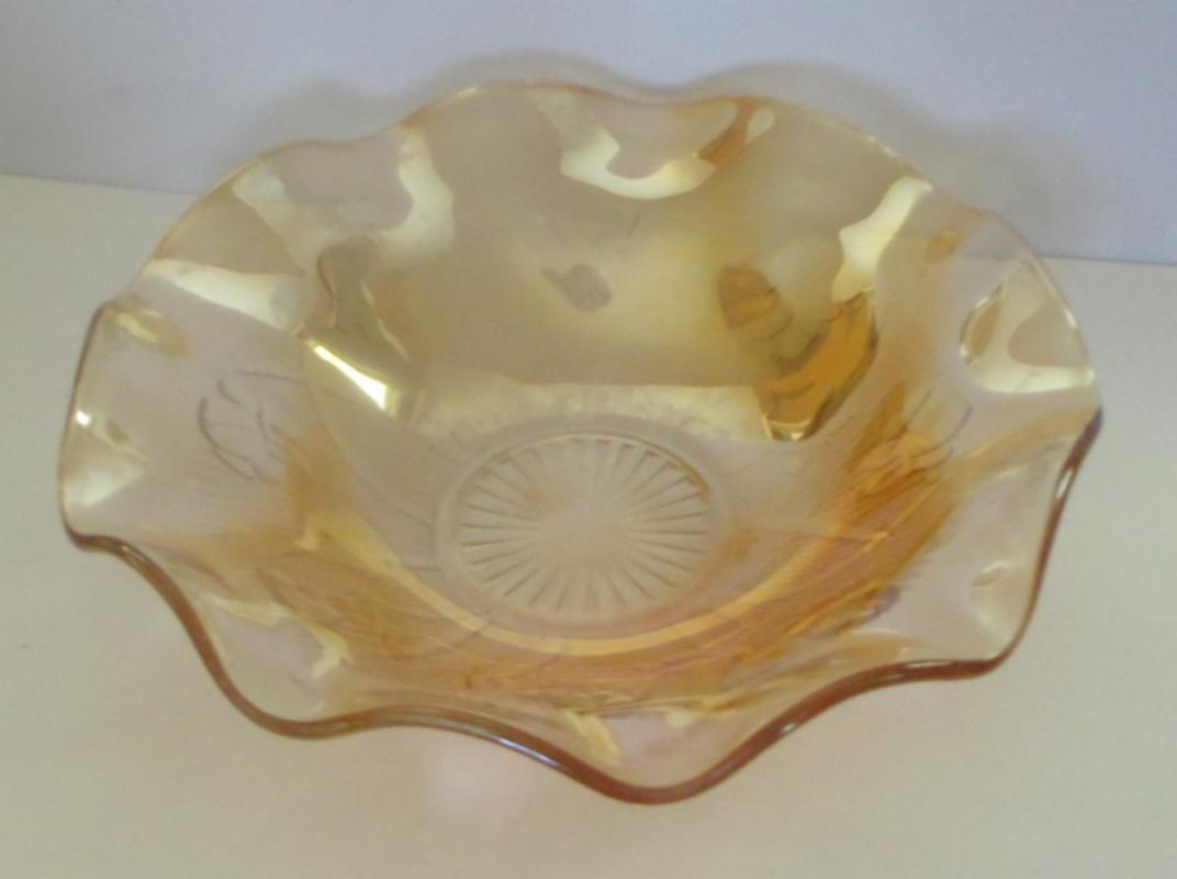 IRIS AND HERRINGBONE CARNIVAL GLASS BOWL,  MARIGOLD