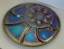 CARNIVAL GLASS DEVILED EGG & CONDIMENT TRAY