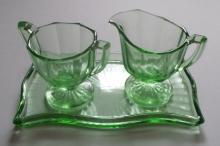 Green Depression Glass Creamer, Sugar Bowl, and Tray