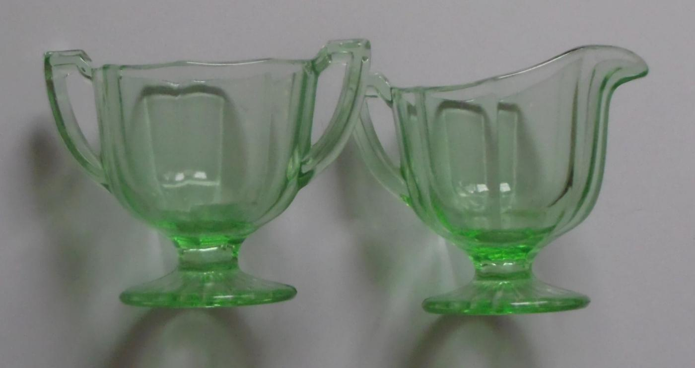 Green Depression Glass Creamer, Sugar Bowl, and Tray