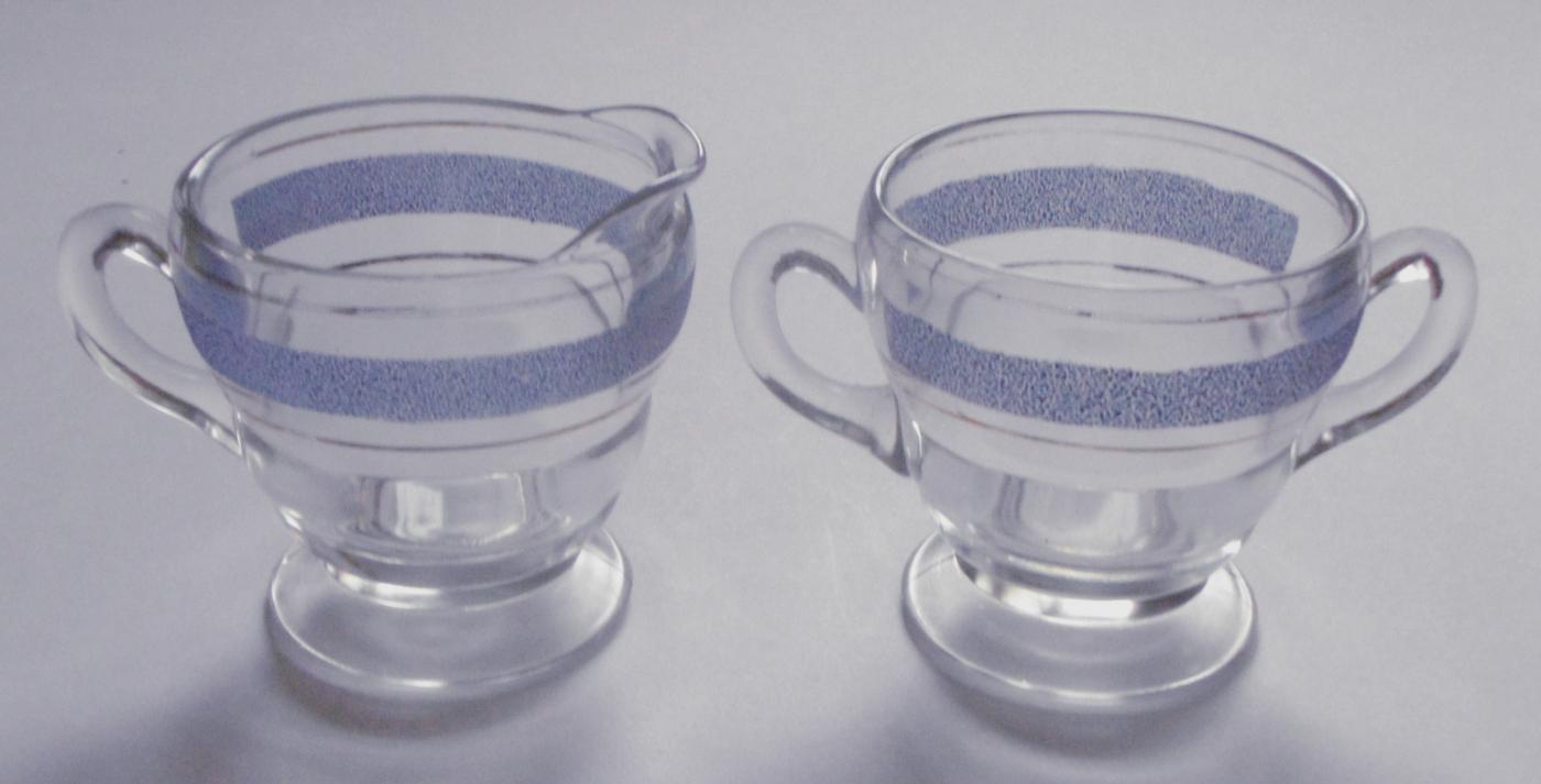 Depression Clear Glass w/ Blue Gold Trim Creamer and Sugar Bowl