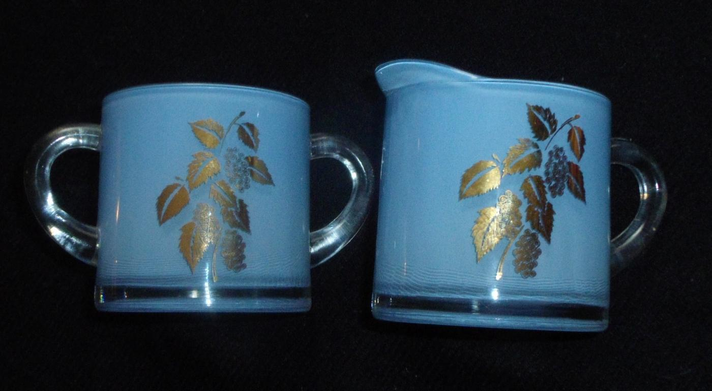 Vintage Creamer and Sugar Bowl - Gold Embellished