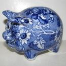 Kent Staffordshire England Louis 14th. Blue Chintz Piggy Bank