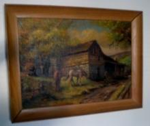 Farm with Horses Painting